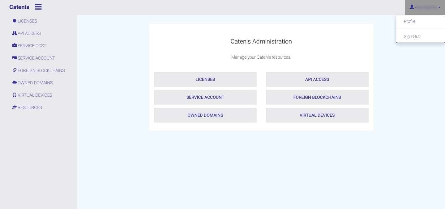 Catenis Admin Dashboard
